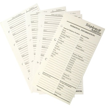 telephone address books refills